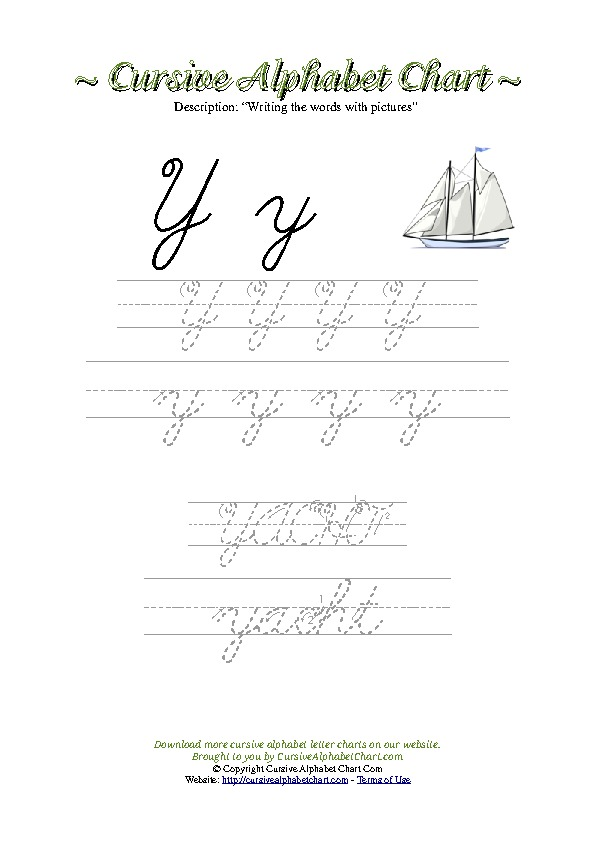 Cursive Letter Y Yacht Picture Worksheet