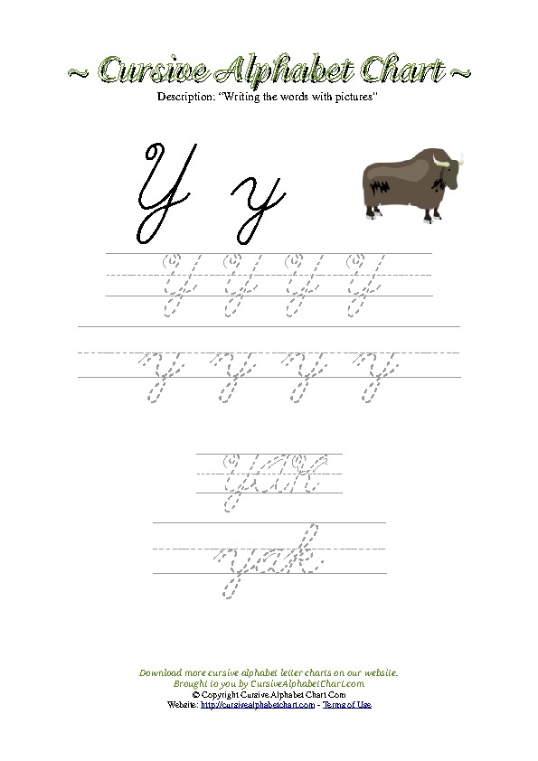 Cursive Letter Y Yak Picture Worksheet