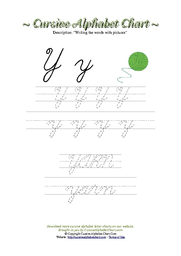 Cursive Letter Y Yarn Picture Worksheet
