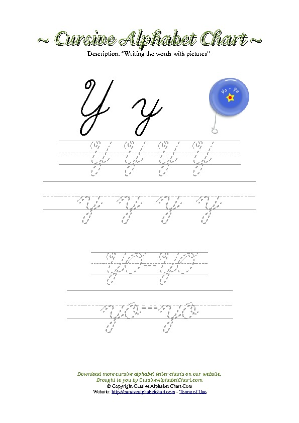 Cursive Letter Y Yoyo Picture Worksheet