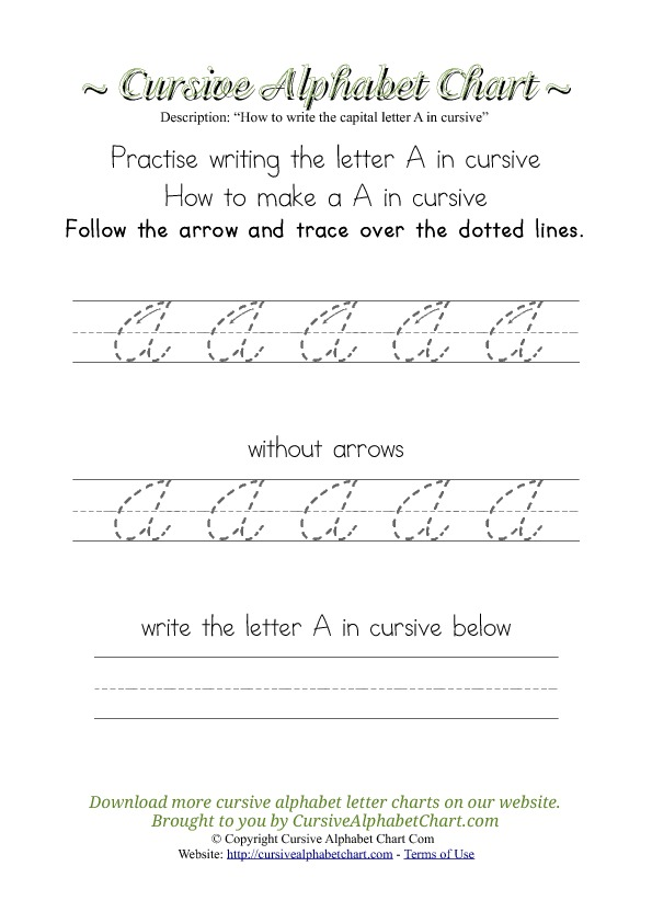 How to Write the Letter A in Cursive