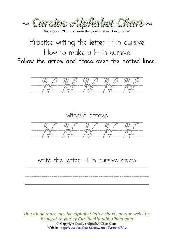 How to Write the Letter H in Cursive