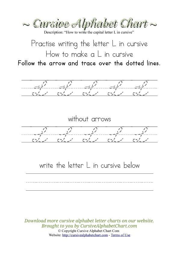 How to Write the Letter L in Cursive