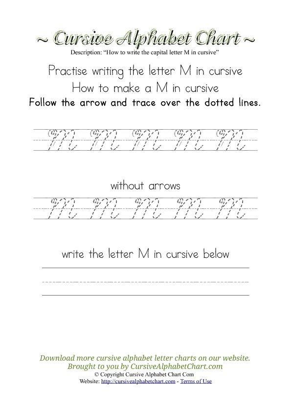 How to Make Letter M in Cursive