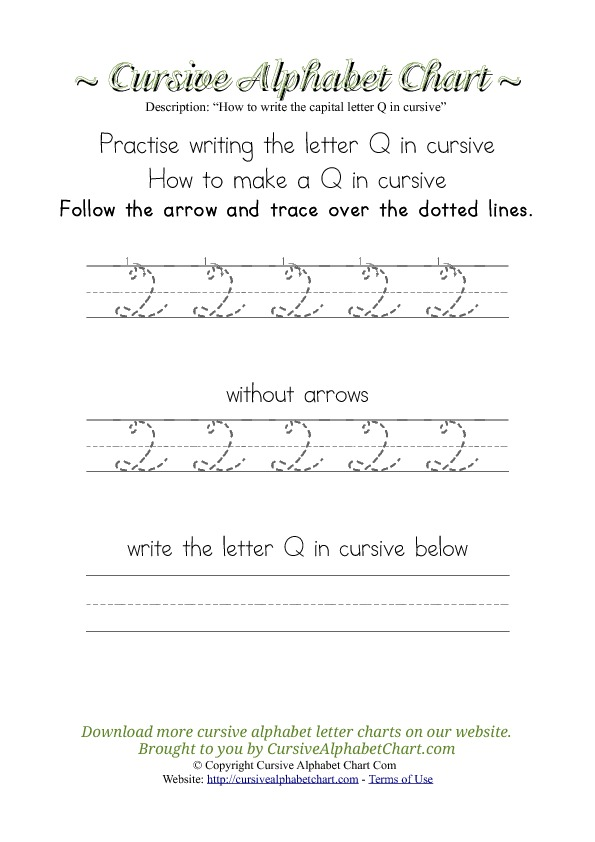 How to Write the Letter Q in Cursive