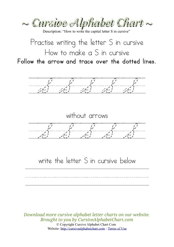 how to write a cursive s