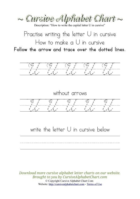 How to Write the Letter U in Cursive