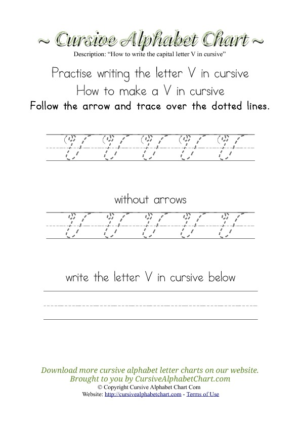 How to Write the Letter V in Cursive