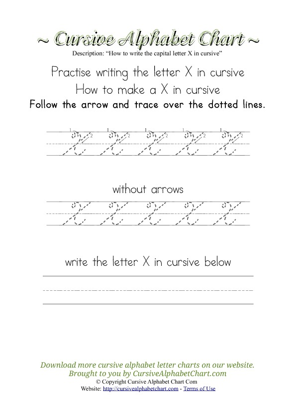 How to Write the Letter X in Cursive