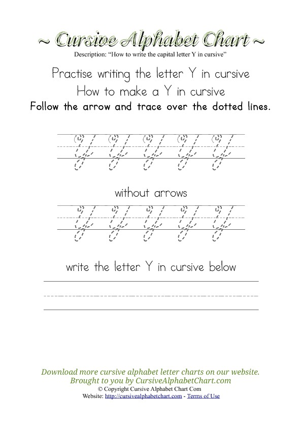 How to Write the Letter Y in Cursive