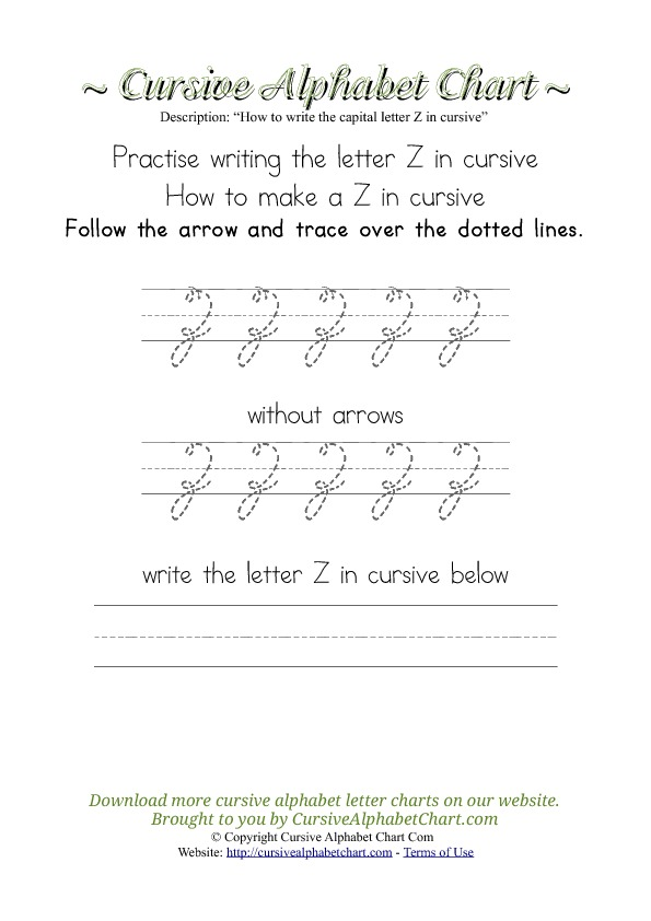 How To Make Letter Z In Cursive