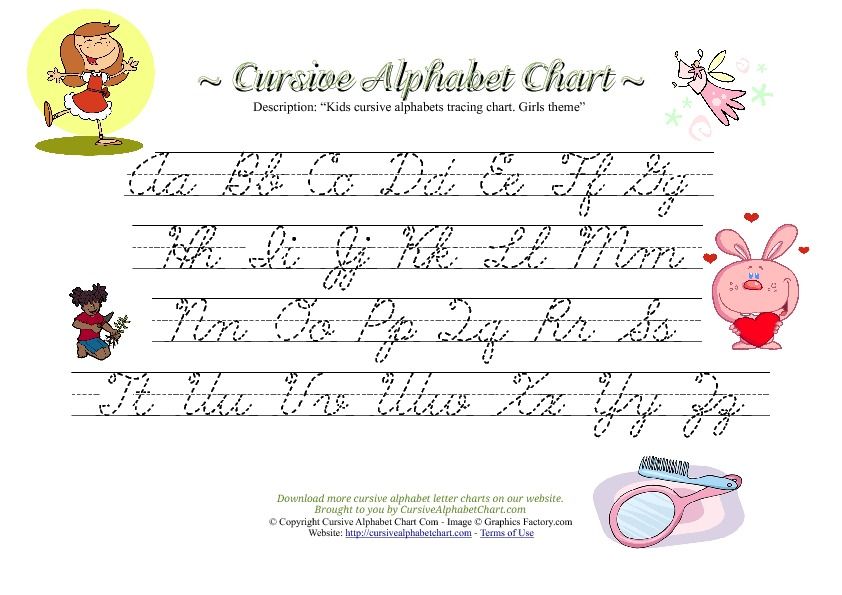 Kids Cursive Alphabet Chart with Girls Theme