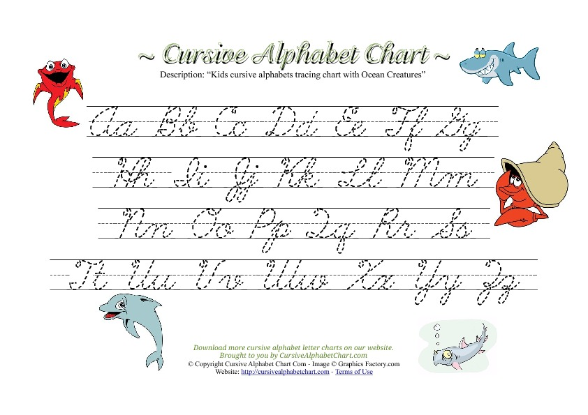 Kids Cursive Alphabet Chart with Ocean Creatures