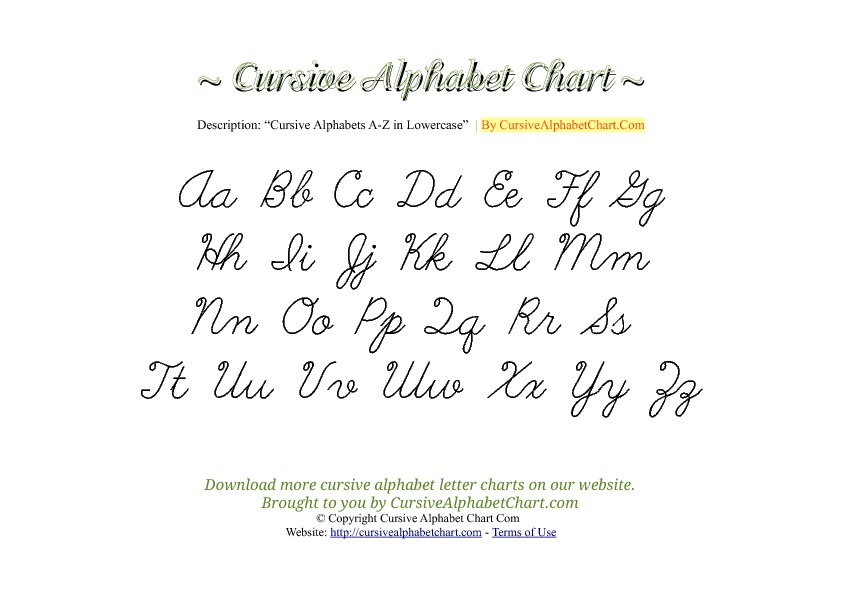 Uppercase & Lowercase Cursive Alphabet Chart in PDF