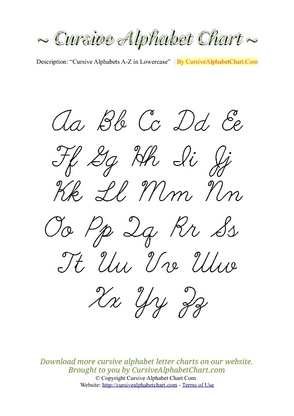 Uppercase & Lowercase Cursive Alphabet Charts in PDF