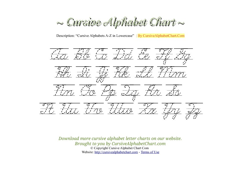 Lined Uppercase  U0026 Lowercase Cursive Alphabet Charts In Pdf