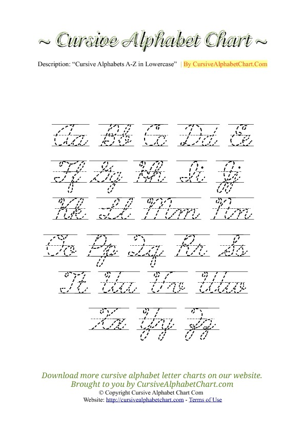 Uppercase & Lowercase Cursive Alphabet Charts with Lines in PDF