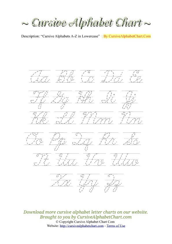 Uppercase & Lowercase Cursive Alphabet Charts with Tracing in PDF