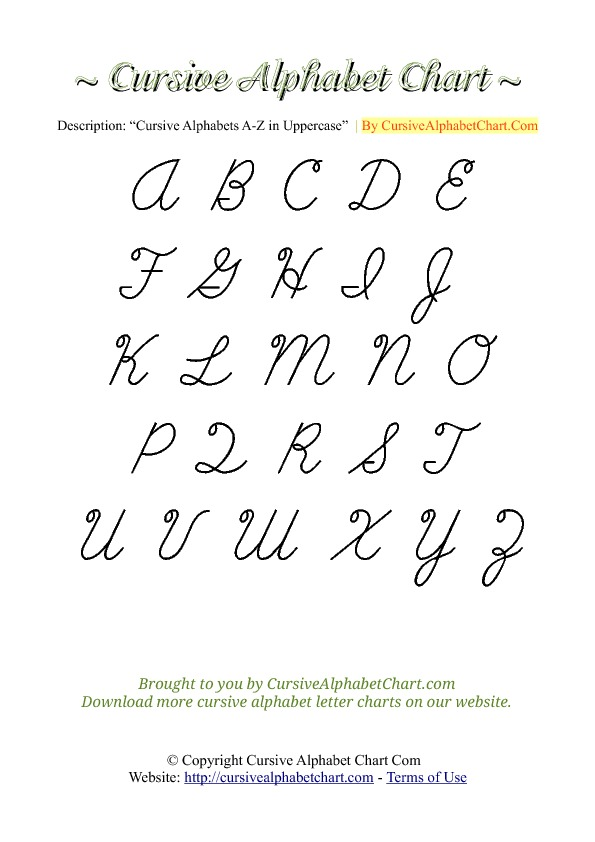 capital letters in cursive a z cursive writing a to z capital letters in cursive 13744