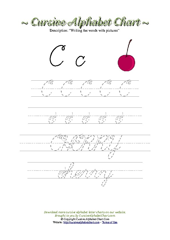 Cursive Picture Writing Worksheets with Words and Letters