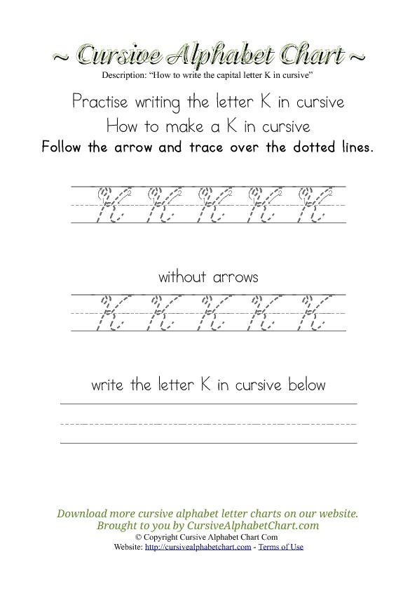 How to Write an K in Cursive