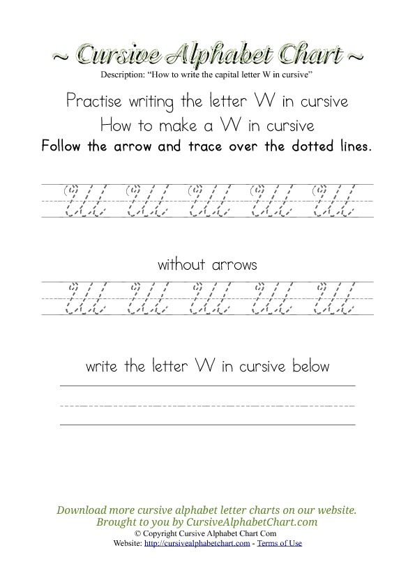 how to write cursive letters cursive alphabet charts for free printable cursive 22484 | how to make w cursive