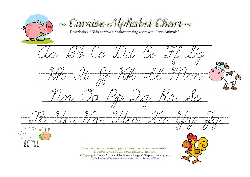 Kids Cursive Alphabet Chart with Farm Animals